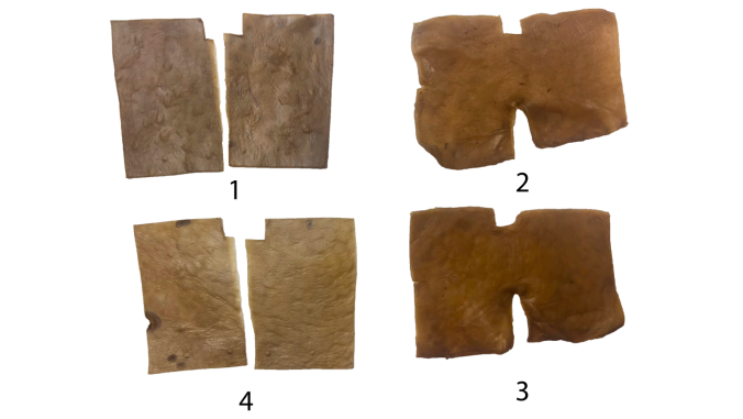 four vegan leather pieces