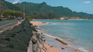 beach on oahu with seawall