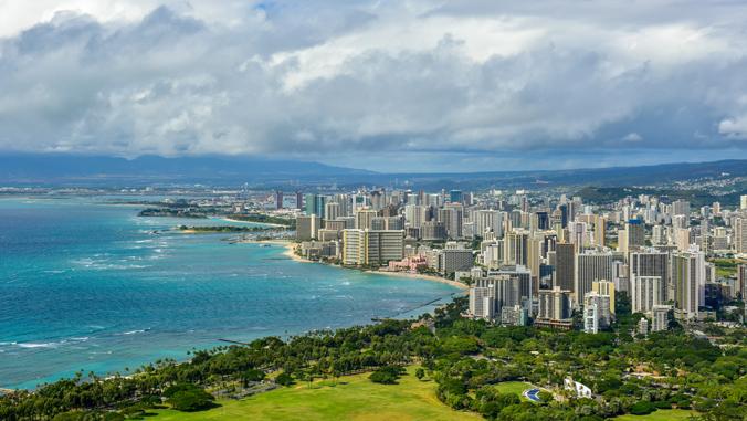 scenic shot of Waikiki and Honolulu from Diamond Head