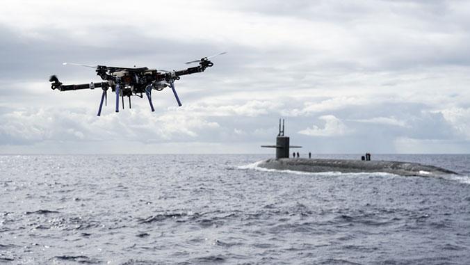 drone flying near sub