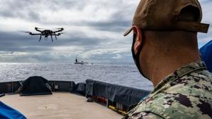 drone near ship