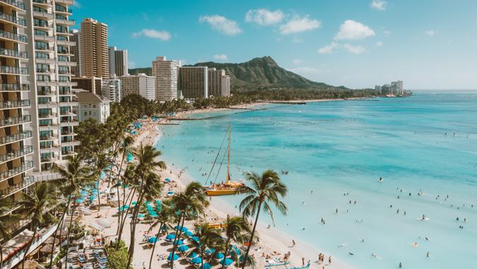 photos of Waikiki Beach looking towards Diamond Head