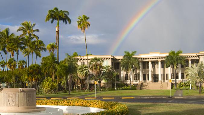hawaii hall building with a rainbow