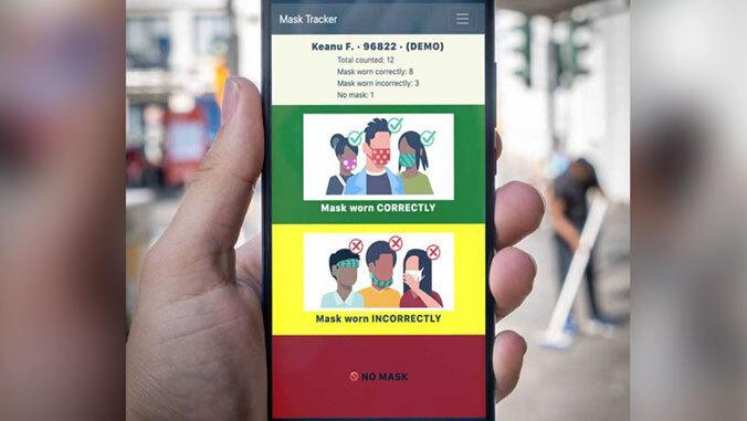 mask-wearing app screen
