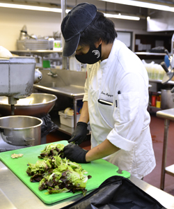 culinary student prepping meal