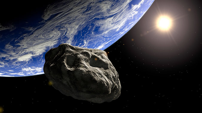 illustration of an asteroid approaching Earth