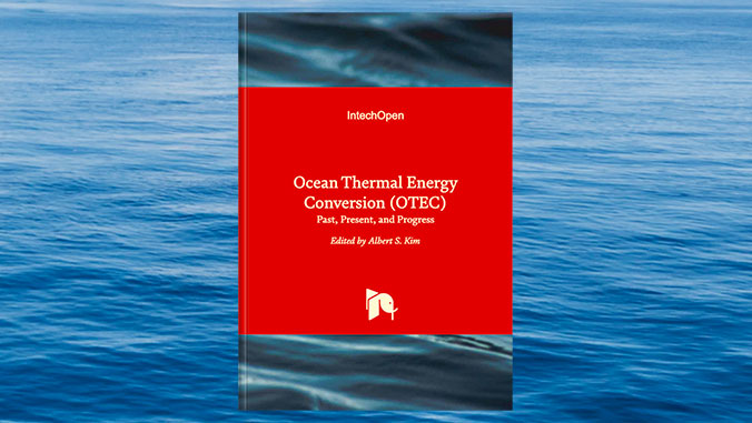 ocean thermal energy conversion book cover over photo of ocean