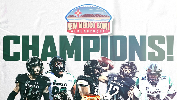 New Mexico Bowl logo with five football athletes