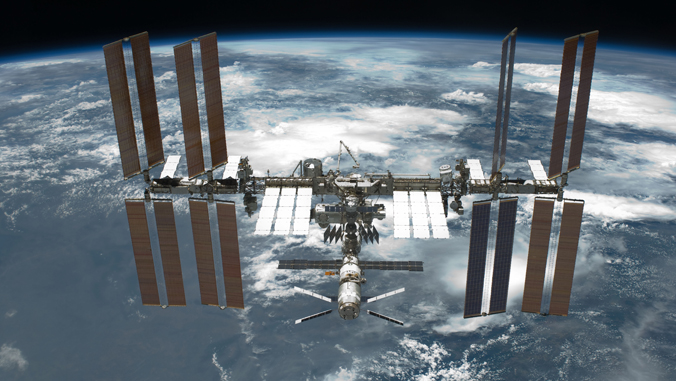 the international space station over earth