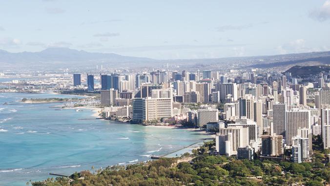 scenic shots of Honolulu skyline