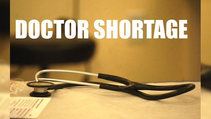 stethoscope with text doctor shortage