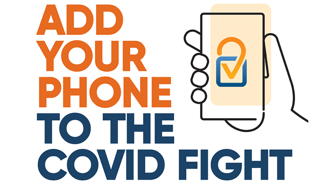 Text: Add your phone to the COVID fight