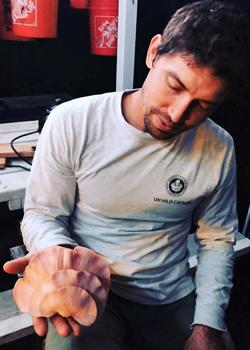 man holding mushroom
