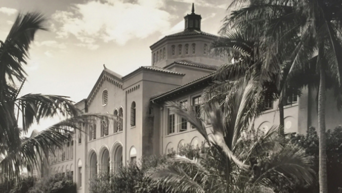 black and white image of McKinley High School building