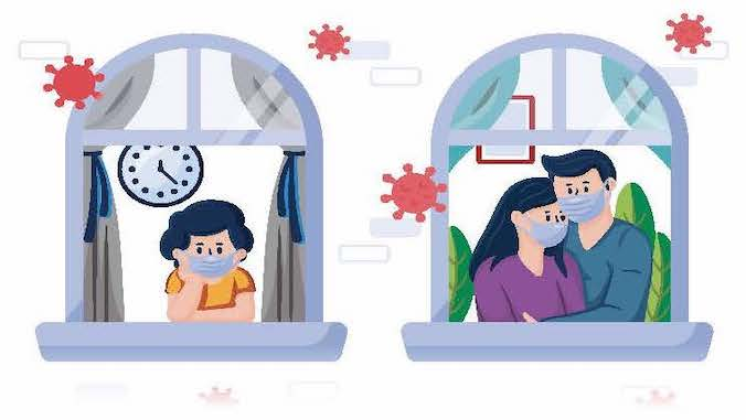 illustration of family members isolating at home