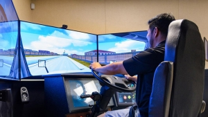 Student driving in a simulator