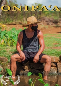 person sitting on bench in the middle of a taro patch