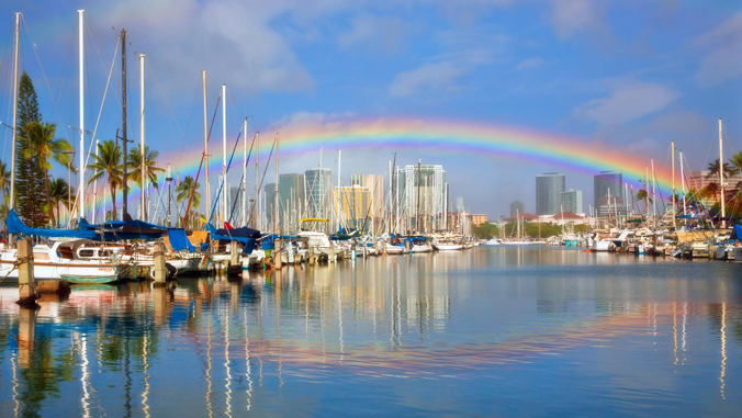 rainbow over harbor