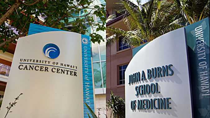 cancer center and med school building signs