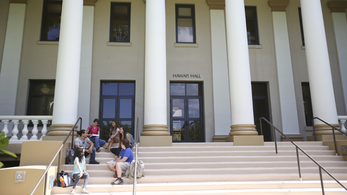 people sitting on steps in front of building