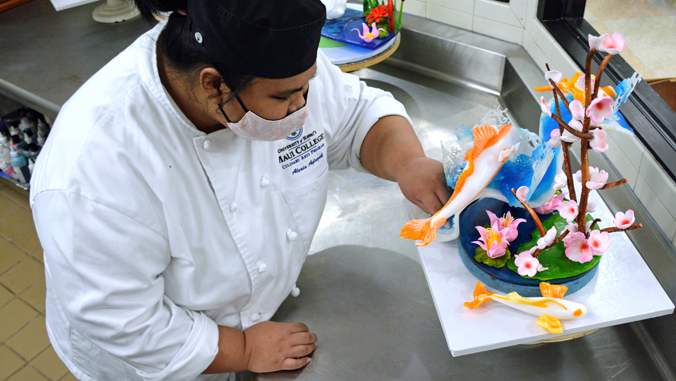 student with sugar piece