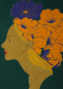 acrylic painting of a womenʻs head with flowers on it
