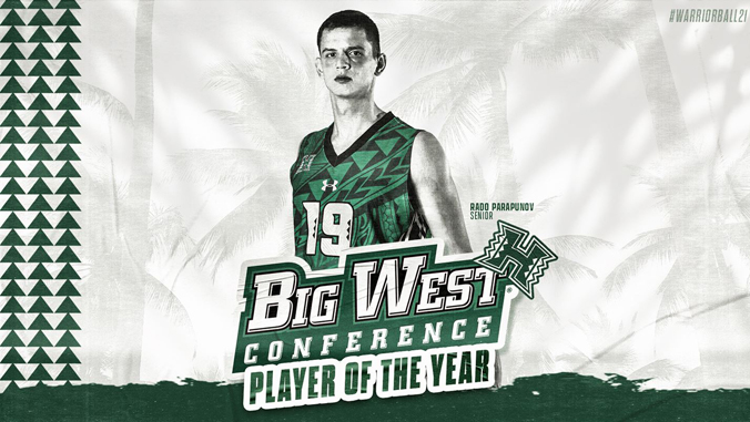 Parapunov and Big West Conference Player of the year banner