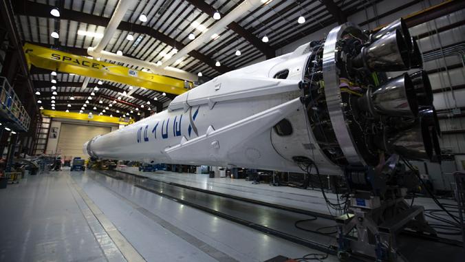 large rocket in a hangar