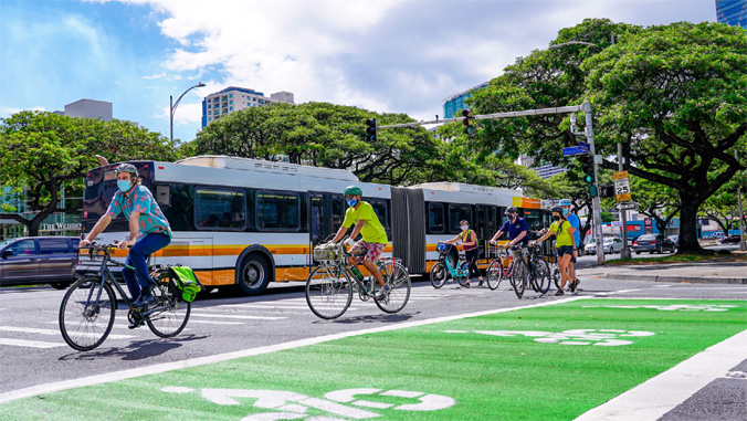 Bikes and electric bus