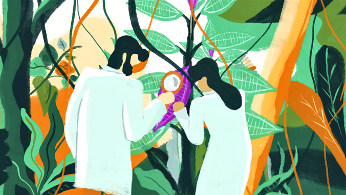 illustration of 2 people looking at plants