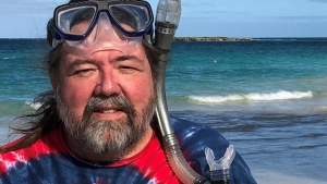 man wearing a snorkel