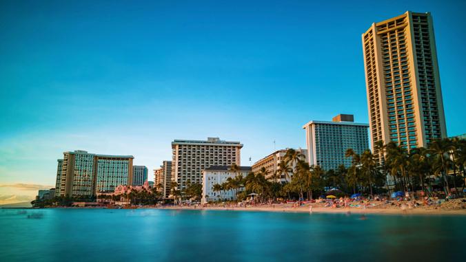 buildings on a beach
