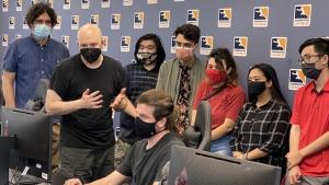students train at computer