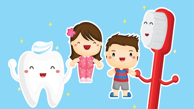 graphic of keiki with tooth and brush