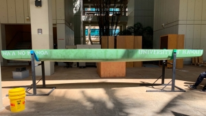 green concrete canoe on a stand