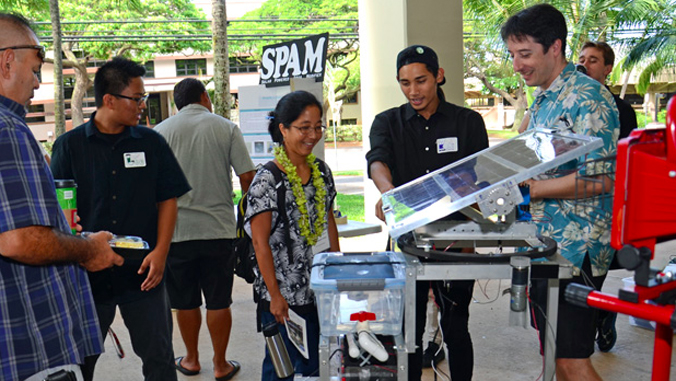 people looking around a solar panel device