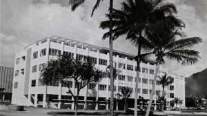 Black and white photo of Snyder Hall