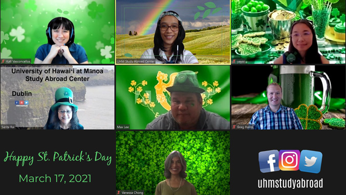 People with Ireland themed Zoom backgrounds