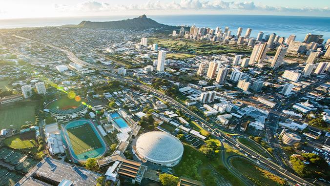 Aerial view of U H Manoa campus