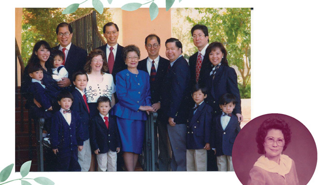 chinn family with photo of florence chinn