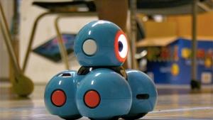 tiny blue robot