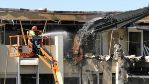 Snyder Hall being torn down