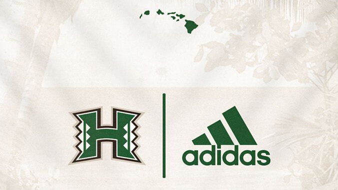 U H Manoa athletics logo and adidas logo