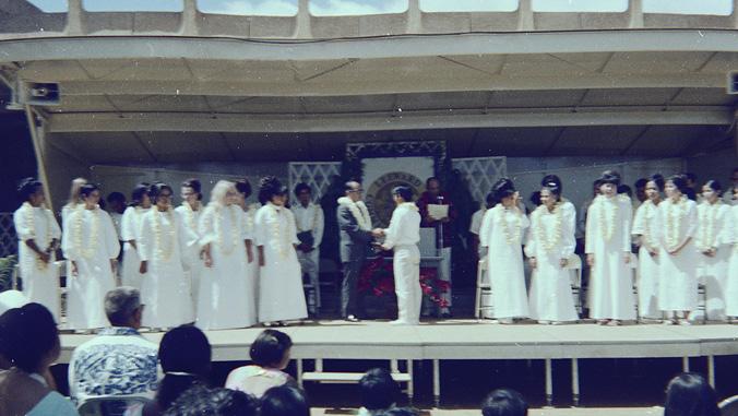 Graduates on a stage