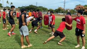 football players training