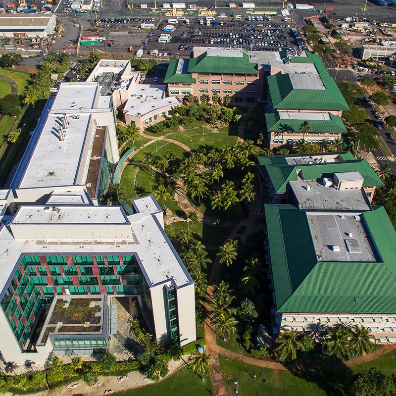 aerial photo of John A. Burns School of Medicine (JABSOM) by Andrea Brizzi