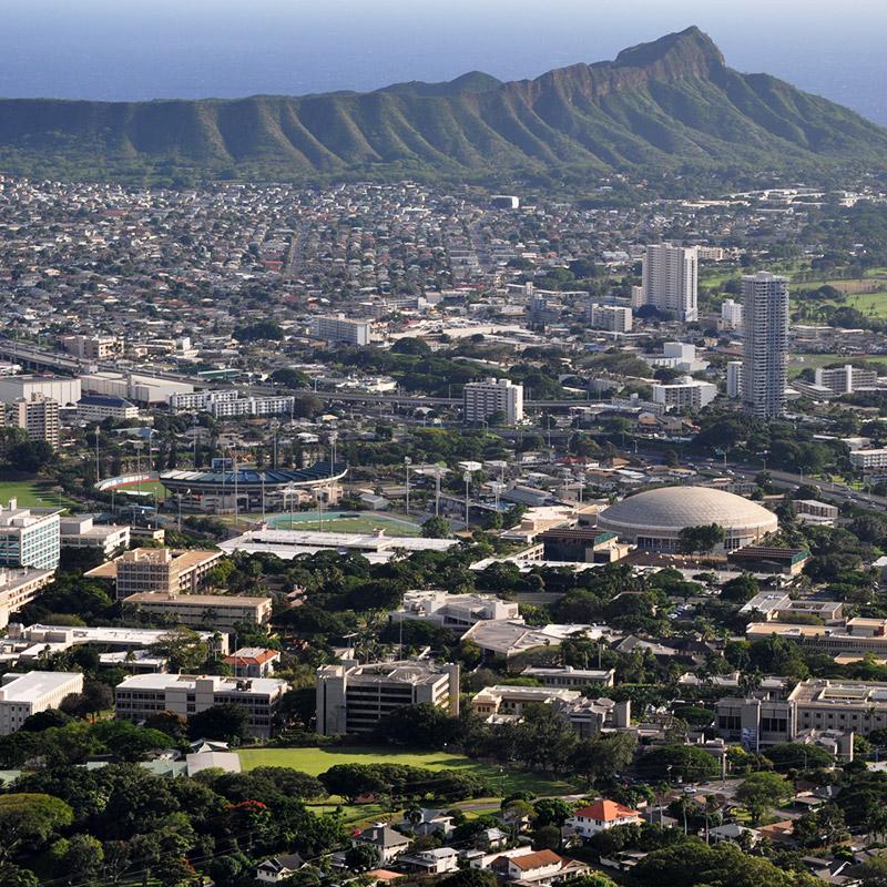 aerial photo of UH Manoa and Diamond Head