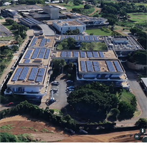 Rooftop solar arrays on Leeward buildings