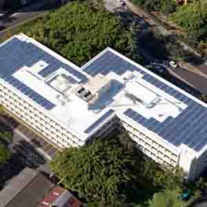 Rooftop solar array on the John A. Burns Hall building