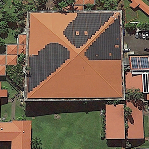 Rooftop solar arrays on Mookini Library